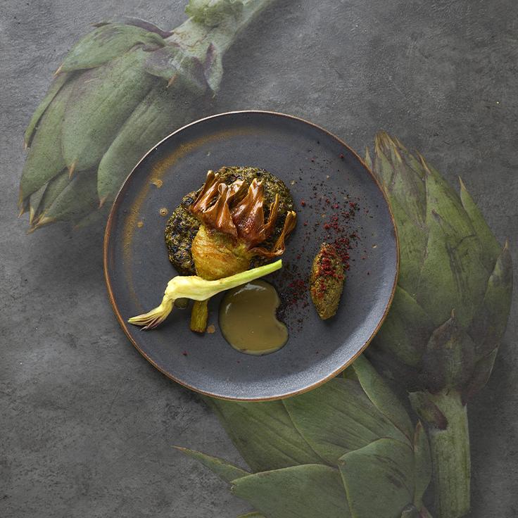 Artichaut poivrade, anémone de mer ©Philippe Vaures Santamaria