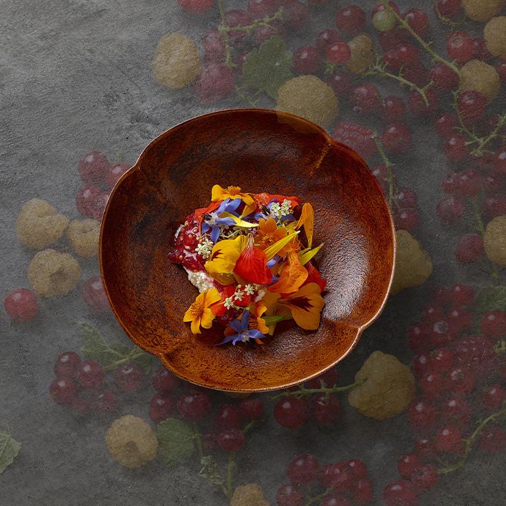 Lait caillé, fleur de Versailles, fruits rouges ©Philippe Vaurès Santamaria