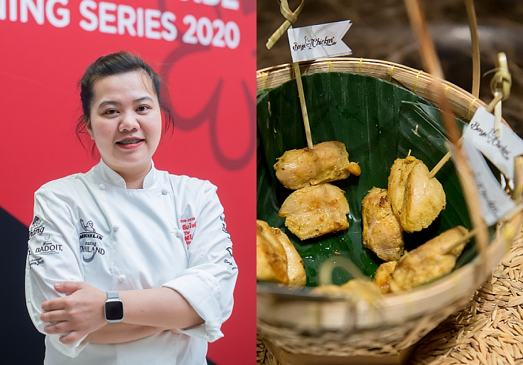 The chef of Saneh Jaan and her authentic creation. (© MICHELIN Guide Thailand)