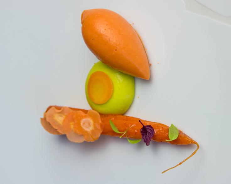 La carotte fane, dessert signature de Brandon Dehan à l'Oustau de Baumanières © Oustau de Baumanières