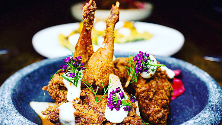 Kerala fried quail, Asian pear, buttermilk, and smoked pepper sauce. Photo courtesy of Ettan