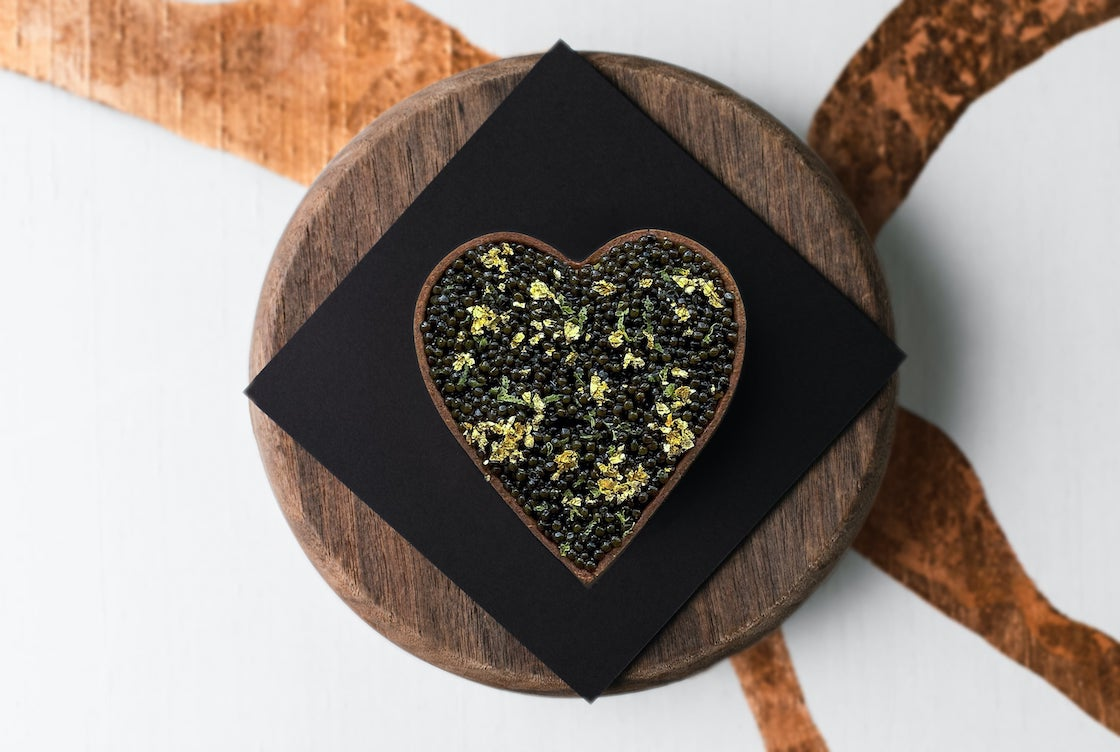 A special heart-shaped signature caviar tart at Écriture.