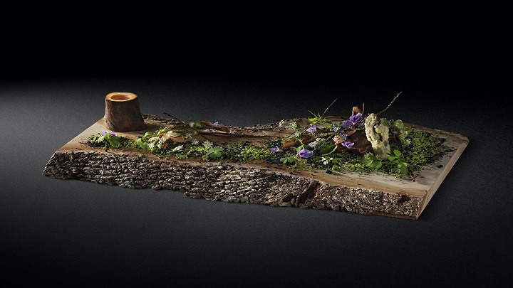 「里山の風景」には、森の景色を投影