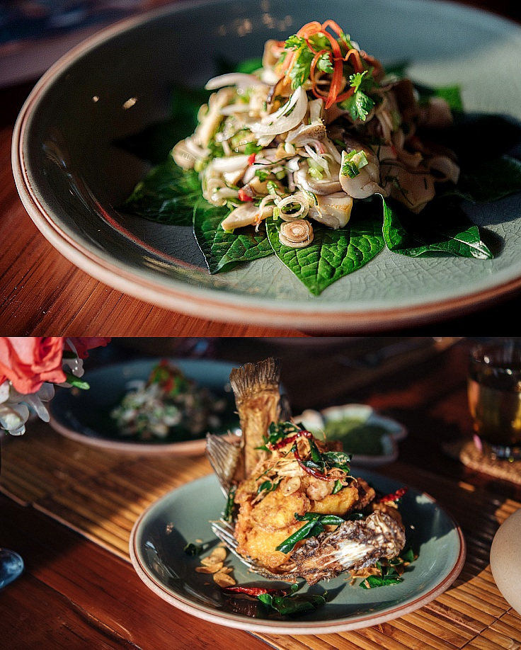 Crispy fish with herbs and spicy grilled mushrooms and herbs salad. (© Anuwat Senivansa Na Ayudhya / MICHELIN Guide Thailand)