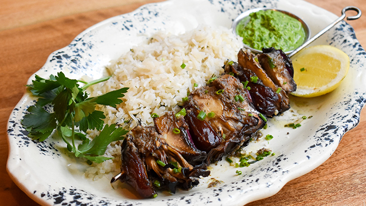 Ēma's grilled mushroom kebab. Photo by Samantha Brauer, courtesy of Lettuce Entertain You Restaurants