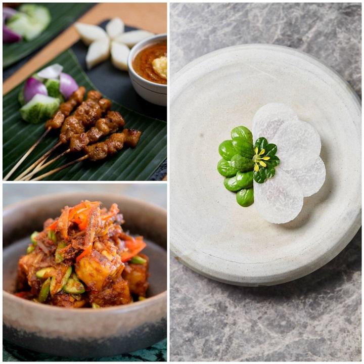 JL Studio 的臭味相投(右图),以及新加坡米其林餐盘推荐餐馆168 春满园沙爹的沙爹(左上)和一星餐馆 Candlenut 的参巴酱炒臭豆(左下)。