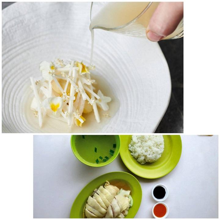 JL Studio 版本的海南鸡饭(上图)以及新加坡米其林推荐餐馆华记鸡饭的经典鸡饭。