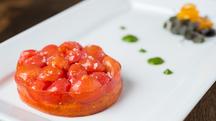 Dirt Candy's tomato cake with smoked feta and tomato leather. Photo by Evan Sung, courtesy of Dirt Candy