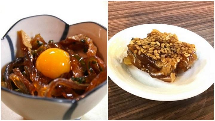 ふぐ皮のポン酢漬け (左)  胡麻の煮こごり (右)