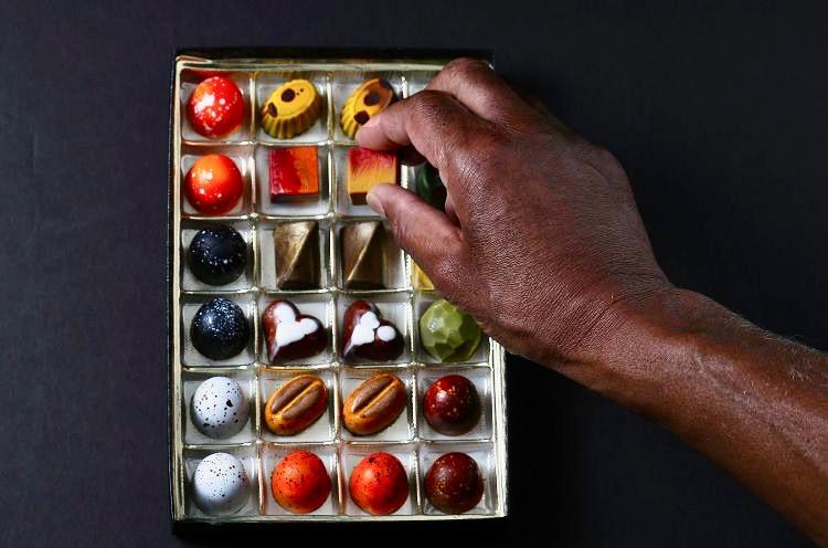 Hot Chocolat's 24-piece box. Photo by Greg Bennett