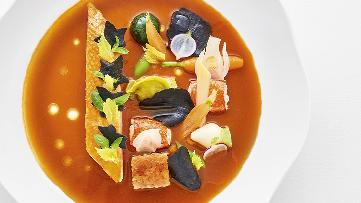 La double sauce proposée à TOP CHEF, homard et volaille ©Richard Haughton