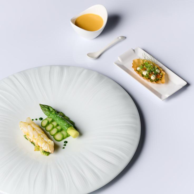 Langoustine Asparagus Set from the spring menu (Photo: JAAN By Kirk Westaway)