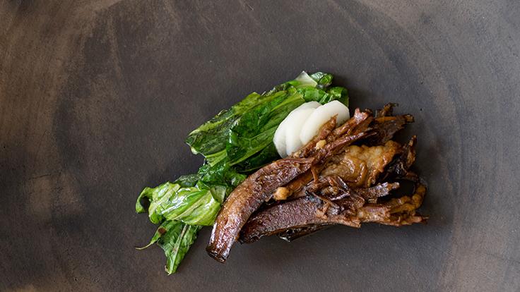 Chef Johnny Ortiz's horno short rib of Stone Barns Center beef, red chile, Stone Barns tsa tsai. Photo by Elena Wolfe, courtesy of Stone Barns Center