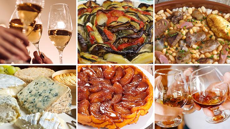 French meal consisting of apéritif, starter, main course, cheese, dessert and digestif. Photos © franckreporter; © nobtis; © mamadela; © t sableaux; © margouillatphotos; © ruslanshramko /iStock