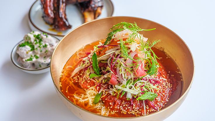 Jeju Noodle Bar's seafood naengmyun. Photo by Douglas Kim, courtesy of Jeju Noodle Bar