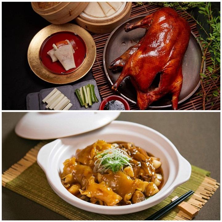 國賓川菜廳的掛爐烤鴨(上)以及國賓粵菜廳的花膠鵝掌煲。(圖片:國賓粵菜廳與川菜廳提供)