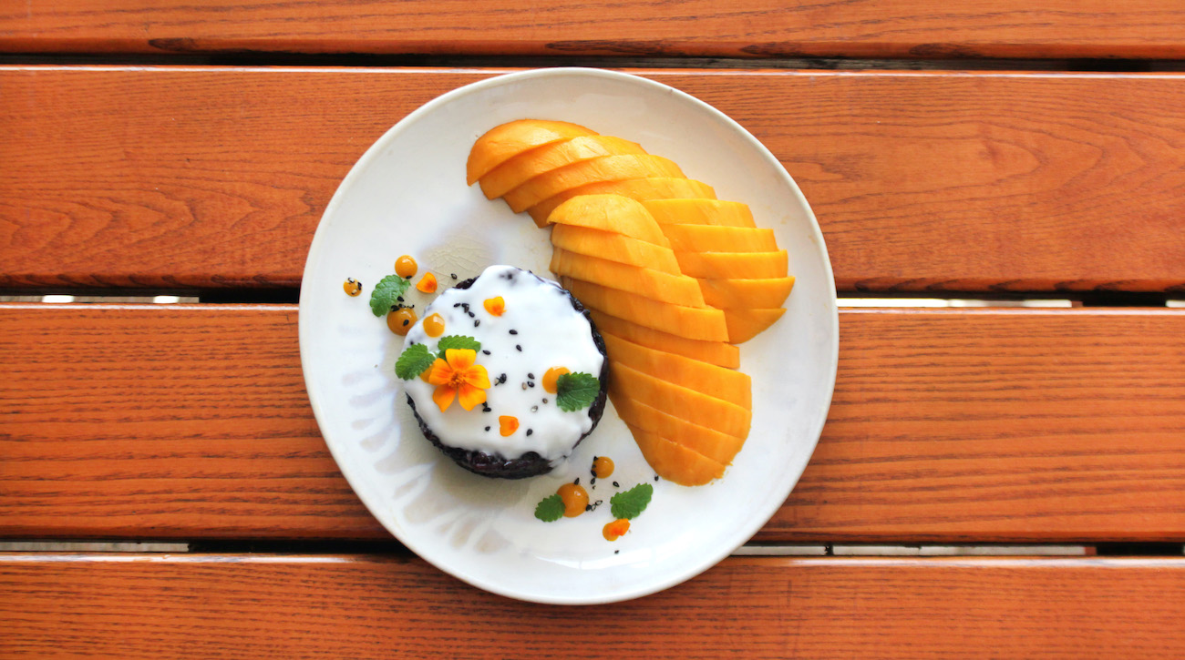 Cathy Asapahu's mango sticky rice with black rice at Ayara Thai. Photo courtesy Cathy Asapahu