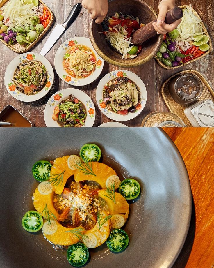 """""""ส้มตำ"""" มีความหลากหลายมากกว่าแค่ """"ตำบักหุ่ง"""" รวมถึงหนึ่งจานเด่นของ 100 มหาเศรษฐ์อย่างตำสับปะรดหอยแครง (©100 Mahaseth, วรรษมน ไตรยศักดา / MICHELIN Guide Thailand)"""