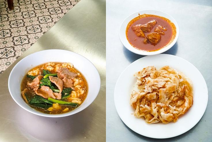 ราดหน้าจานเด็ดของร้านคุณจี๊ดยอดผัก และโรตีแสนอร่อยของร้านโรตีเจ้าฟ้าที่เป็นที่นิยมของคนในย่านมากว่า 10 ปีแล้ว (© MICHELIN Guide Thailand)