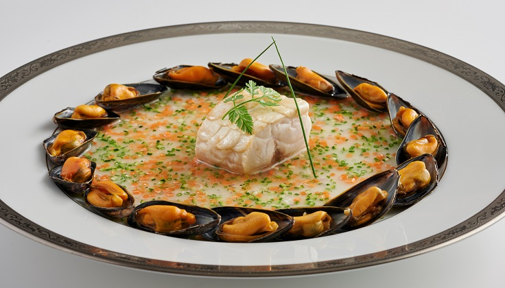 Les Amis' seasonal line-caught French sea bass with sauce printanière, surrounded by Morisseau mussels (image: Les Amis)