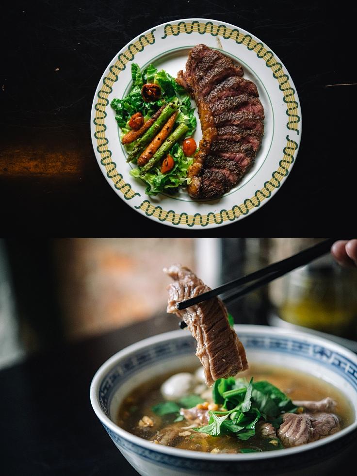 สเต๊กเนื้อออสเตรเลียนวากิวเสิร์ฟพร้อมสลัด และเกาเหลาเนื้อรวม (© อนุวัฒ เสนีวงศ์ ณ อยุธยา / MICHELIN Guide Thailand)