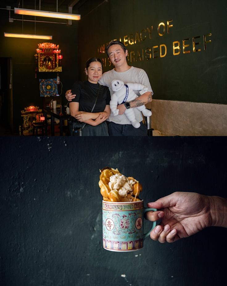 วาฟเฟิลฮ่องกงเสิร์ฟพร้อมไอศกรีมนมสดราดน้ำผึ้ง (© อนุวัฒ เสนีวงศ์ ณ อยุธยา / MICHELIN Guide Thailand, Yih Sahp Luhk)