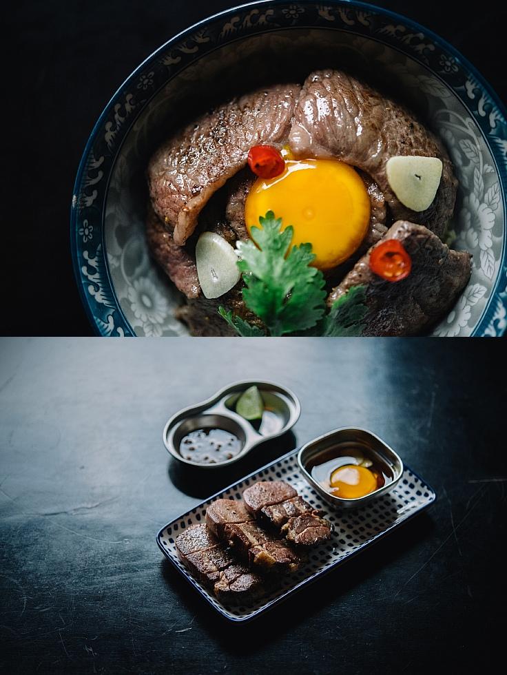 ข้าวหน้าเนื้อสไลซ์สะดุ้งไฟและไข่ดองซอสน้ำปลา และลิ้นวัวย่างซูวีดนาน 36 ชั่วโมง (© อนุวัฒ เสนีวงศ์ ณ อยุธยา / MICHELIN Guide Thailand)
