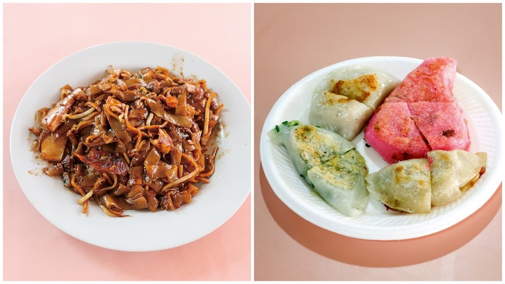 From left to right: Hainan Zi's fried kway teow with cockles and Chinese sausage & Lai Heng's Handmade Teochew Kueh (Photo Credit: Michelin)