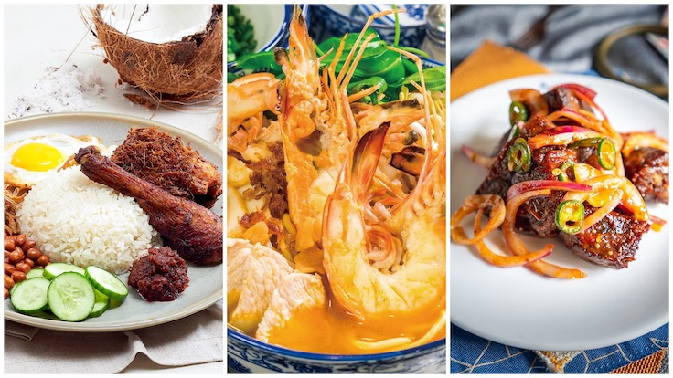 From left to right: Signature dishes from The Coconut Club, Da Shi Jia, and Kotuwa (Photo collage by Michelin. Individual photo credits: Coconut Club / Da Shi Jia / Kotuwa)
