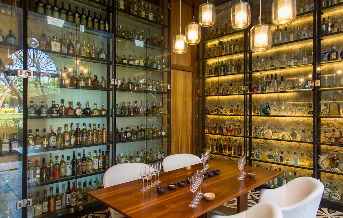Ixi'im Restaurant at Chablé Yucatán has the world's largest collection of tequila—3,700 bottles. Photo courtesy of Chablé Yucatán
