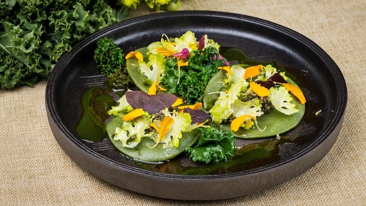 Fresh Spinach and Kale Raviole with Thyme Citron by Chef Jeremy Gillon