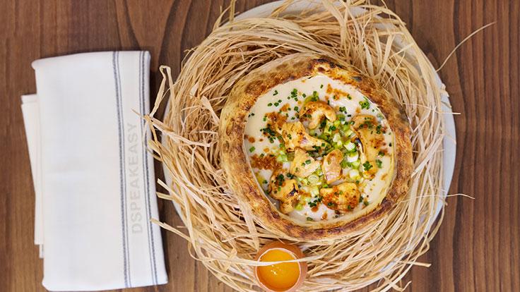 Crema de apionabo, con setas y huevo. © Anais/DSPEAK