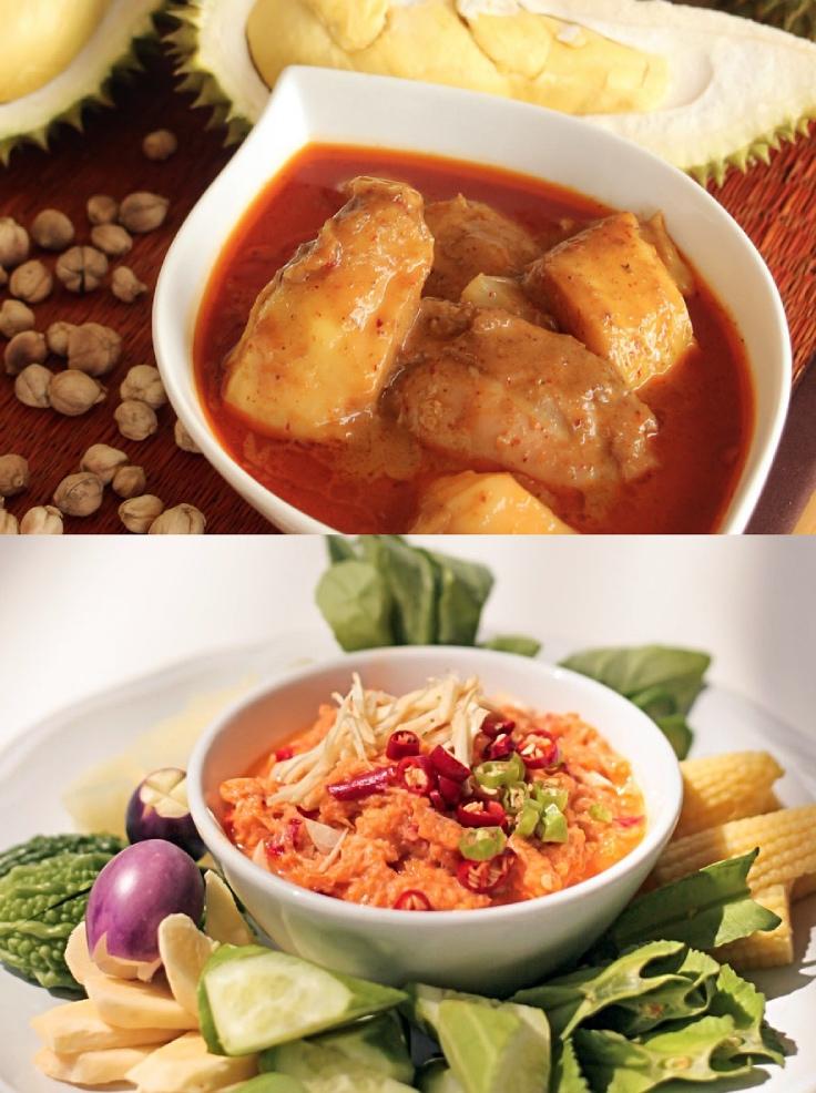 Nam phrik pu khai and masamun kai durian. (© Chanthorn Restaurant)