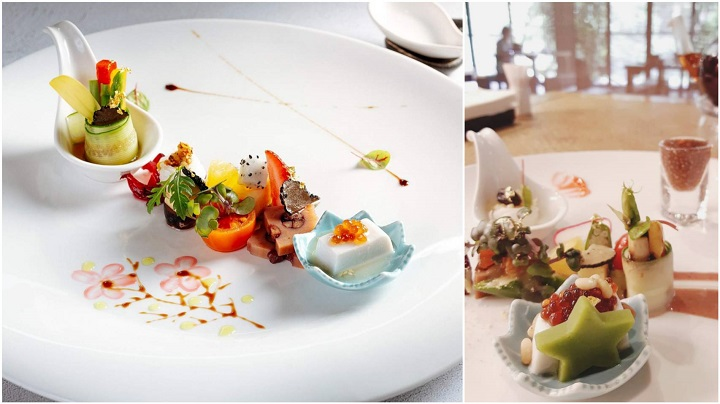 陽明春天的春天盛合拼盤,在獲得米其林綠星後,也以抹茶做成綠星(右圖),在上桌時與賓客說明,也更加推廣餐廳與永續理念。(左圖由陽明春天提供,右圖由謝明玲拍攝)