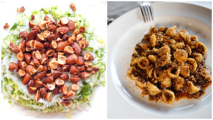 L-R: Osteria Mozza's Shaved Brussels Sprouts and Orecchiette with Sausage and Swiss Chard (Photo by Osteria Mozza)