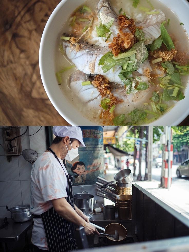 ทายาทรุ่นที่สามกับข้าวต้มเนื้อปลากะพงขาวที่หวานเนื้อปลาสด ๆ (© อนุวัฒ เสนีวงศ์ ณ อยุธยา/ MICHELIN Guide Thailand)
