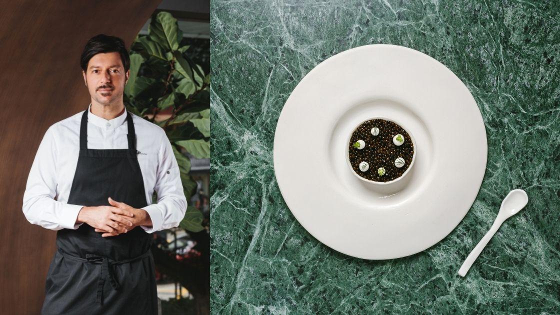 """(Left) Chef Antimo Maria Merone; (Right) Estro's """"Red Prawn"""" (Photo: Courtesy of Estro)"""