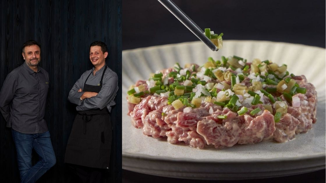 (Left) Chef Nicolas Boutin and chef Eric Taluy; (Right) Ami's hand-cut heritage beef tartare (Photo: Courtesy of Ami and Wood Ear)