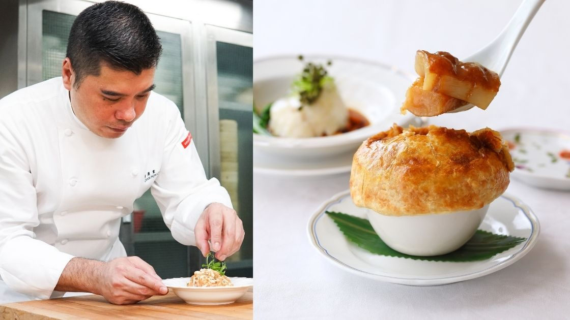 (Left) Chef Chan Hon Cheong; (Right) Braised Australian sea cucumber, pomelo peel, abalone sauce in puff pastry (Photo: Courtesy of One Harbour Road)