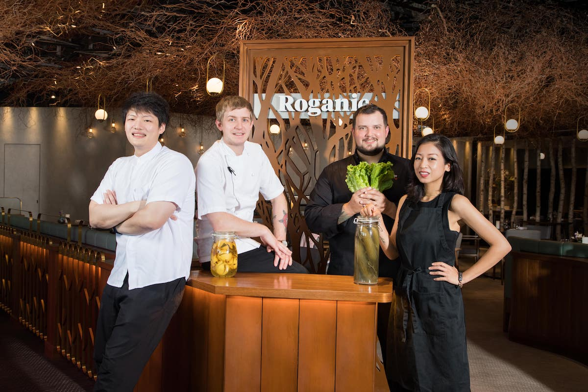 Left to right: chef Barry Quek of Whey, chef Ash Salmon of Roganic, chef Agustin Balbiof Ando, and plant-based chef Peggy Chan. (Photo: Courtesy of Roganic)