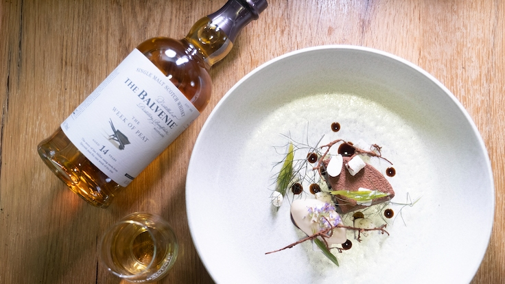 The 14 Year Old The Week of Peat's floral and sweet notes inspired chefs Clift and Adeyemi to create an almond and chocolate-based dessert to lift those notes.